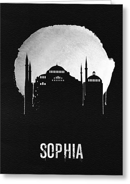Sophia Landmark Black Greeting Card by Naxart Studio