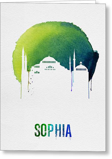 Sophia Landmark Red Greeting Card by Naxart Studio