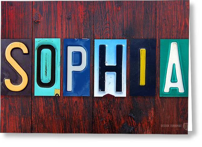 Sophia License Plate Lettering Name Sign Art Greeting Card