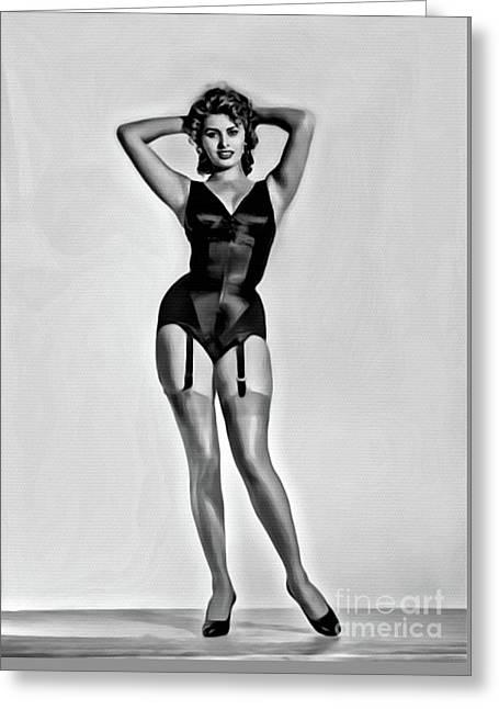Sophia Loren, Digital Art By Mary Bassett Greeting Card by Mary Bassett