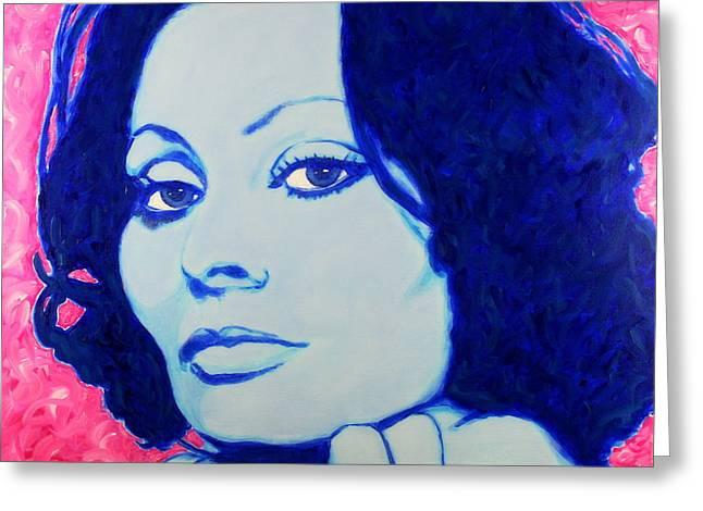 Greeting Card featuring the painting Sophia Loren Pop Art Portrait by Bob Baker