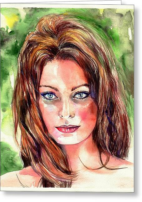 Sophia Loren Portrait Greeting Card