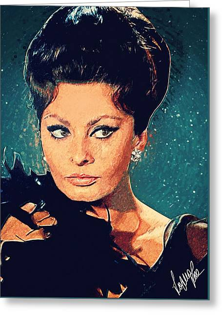 Sophia Loren Greeting Card by Taylan Apukovska
