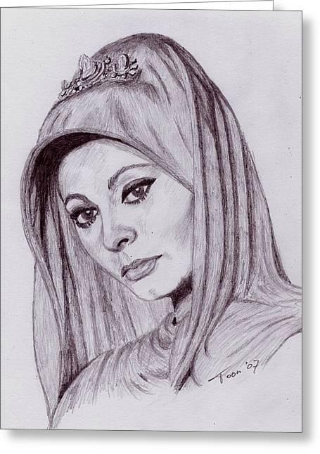 Sophia Loren Portrait Greeting Cards - Sophia Loren Greeting Card by Toon De Zwart