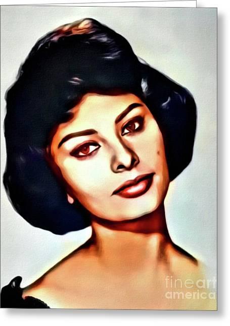 Sophia Loren, Vintage Actress. Digital Art By Mb Greeting Card by Mary Bassett
