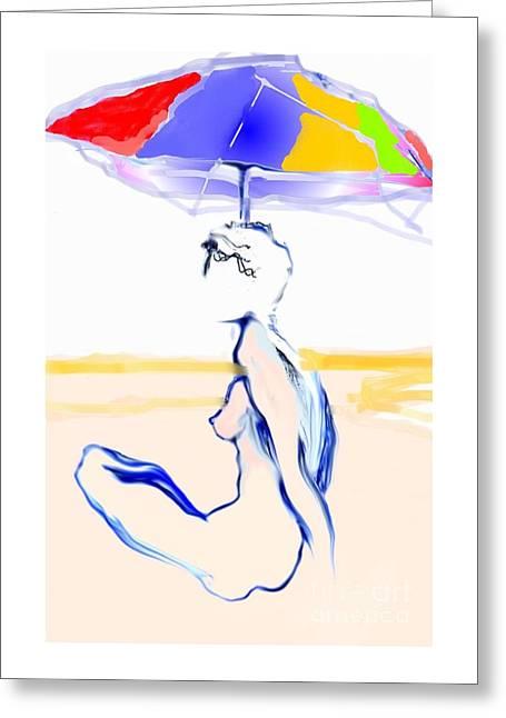 Sophi's Umbrella #2 - Female Nude Greeting Card