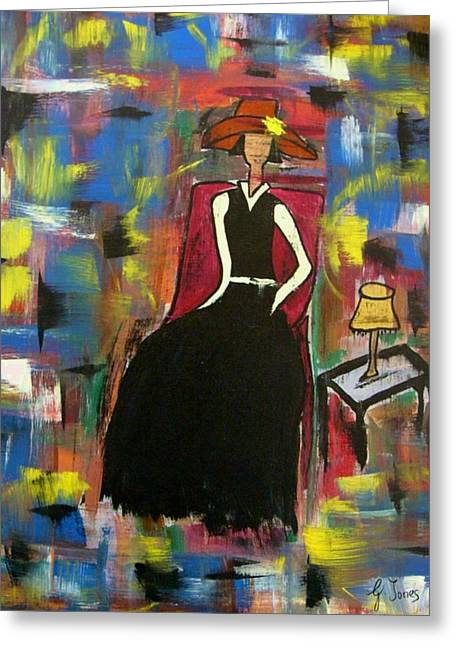 Sophisticared Lady Greeting Card by Glenda  Jones