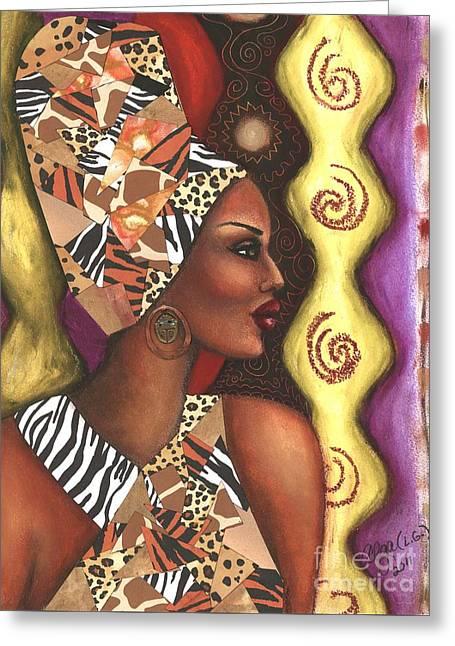 Greeting Card featuring the mixed media Sophisticated Safari by Alga Washington
