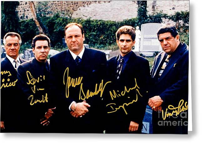 Sopranos Autographed Cast Photograph Greeting Card by Pd