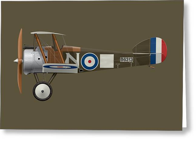 Sopwith Camel - B6313 March 1918 - Side Profile View Greeting Card by Ed Jackson