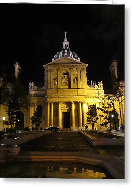 Greeting Card featuring the photograph Sorbonne Night by Christopher Kirby