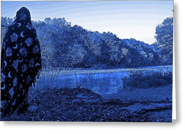 Sorcerer Stands Over A Creek Greeting Card by Zach Sutton