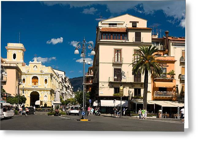 Sorrento Italy Piazza Greeting Card by Sally Weigand