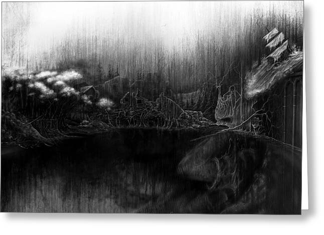 Surreal Landscape Mixed Media Greeting Cards - Sorrow Lake Greeting Card by Cliff Lambert