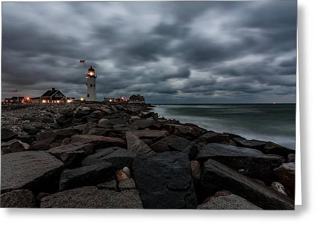 Stormy Clouds Over Old Scituate Lighthouse In The Early Morning Greeting Card