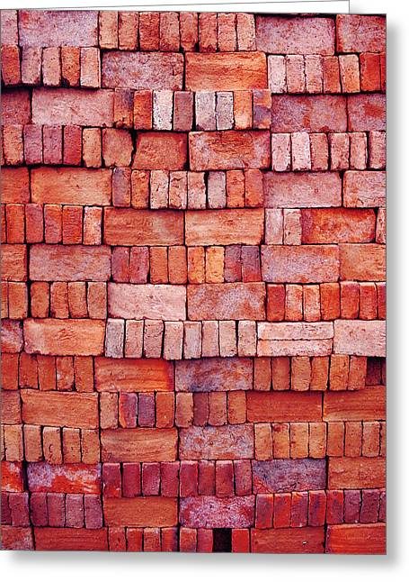 Sorted Red Bricks  Greeting Card