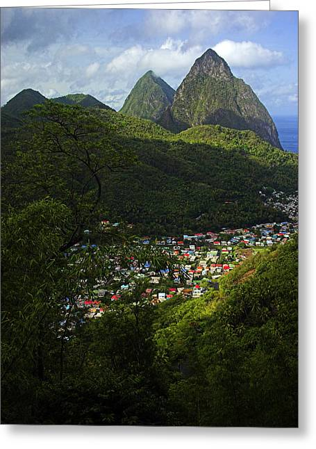 St Lucia Greeting Cards - Soufriere Village- St Lucia Greeting Card by Chester Williams