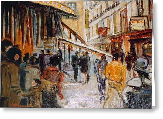 Greeting Card featuring the painting Souk De Buci by Walter Casaravilla