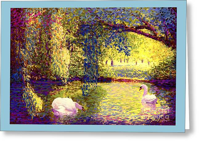 Greeting Card featuring the painting Swans, Soul Mates by Jane Small