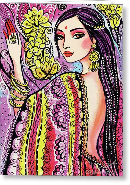 Greeting Card featuring the painting Soul Of India by Eva Campbell