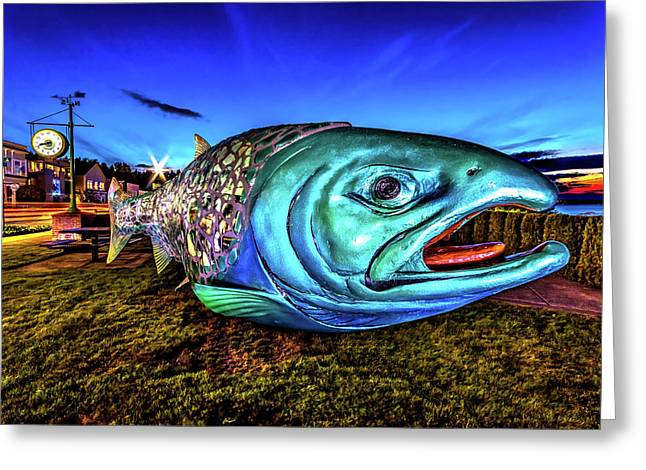 Soul Salmon During Blue Hour Greeting Card
