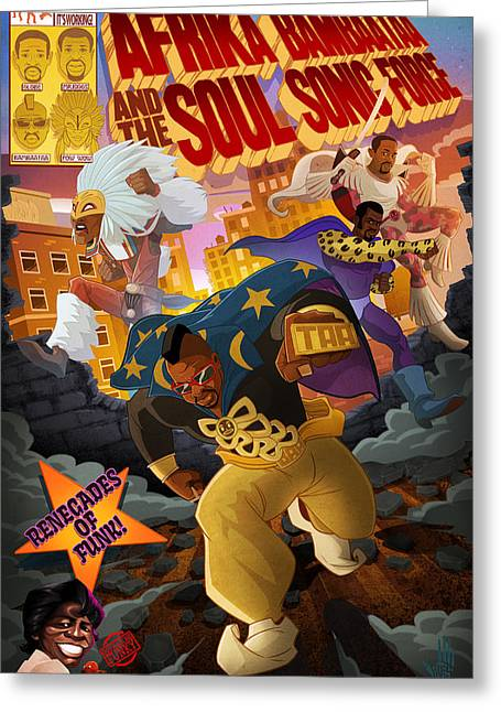 Soul Sonic Force Greeting Card by Nelson  Dedos Garcia