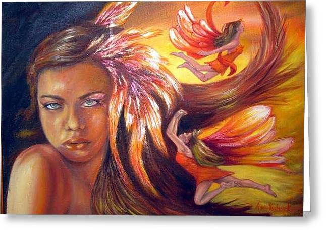 Soulfire Greeting Card by Anne Kushnick
