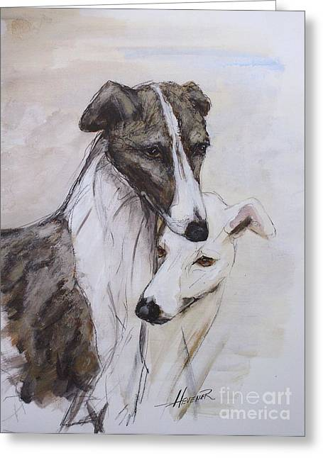Greyhound Dog Greeting Cards - Soulmates Greeting Card by Ron Hevener