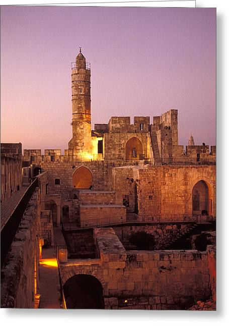 Sound And Light Show At Jerusalem City Greeting Card by Richard Nowitz