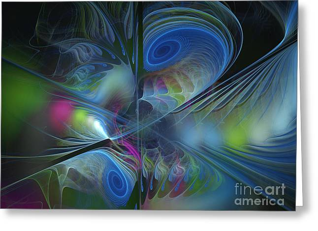 Greeting Card featuring the digital art Sound And Smoke by Karin Kuhlmann