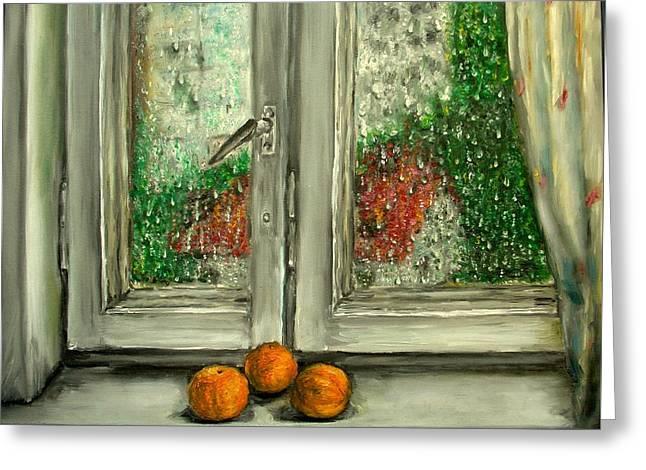 Sound Of Rain  Oil Painting Greeting Card by Natalja Picugina