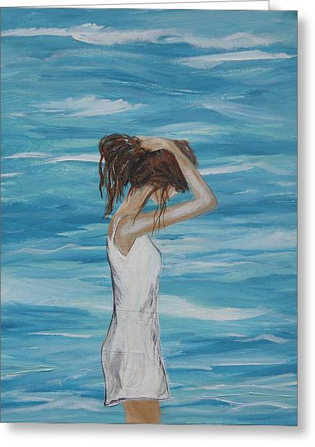 Lady In Pool Greeting Cards - Sound of Solitude Greeting Card by Leslie Allen