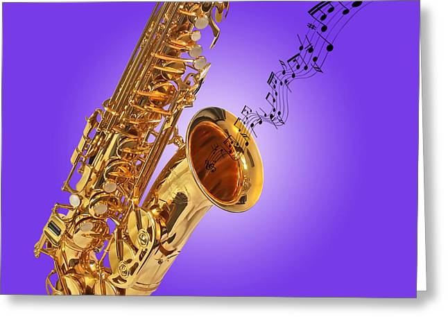 Sounds Of The Sax In Purple Greeting Card