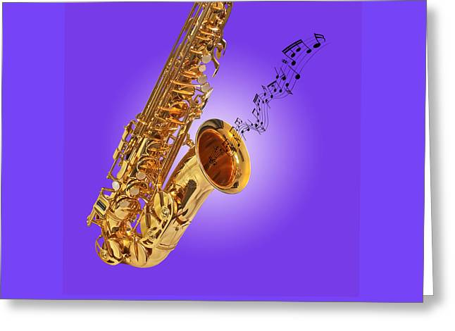 Sounds Of The Sax In Purple Greeting Card by Gill Billington