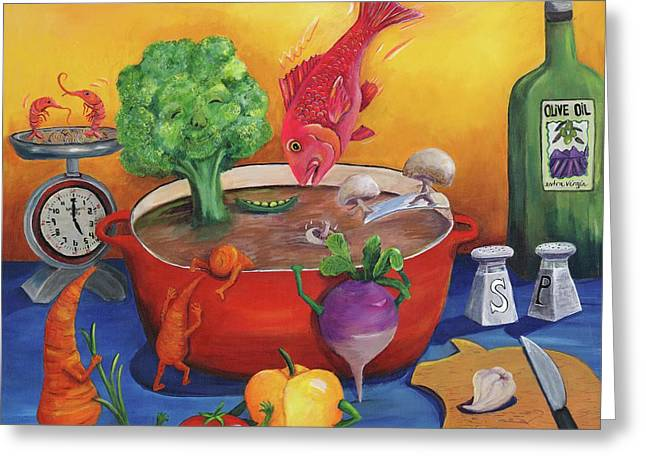 Souper Snapper And The Stew Crew Greeting Card by Debbie McCulley