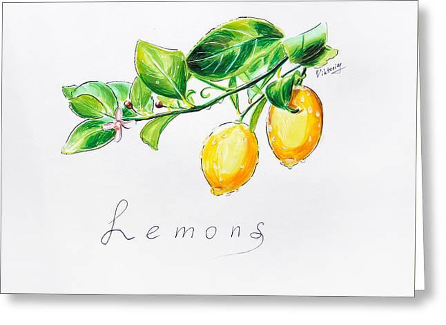 Sour Lemons Greeting Card by Viktoriya Lavtsevich