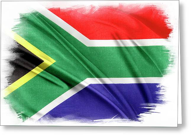South Africa Flag Greeting Card by Les Cunliffe
