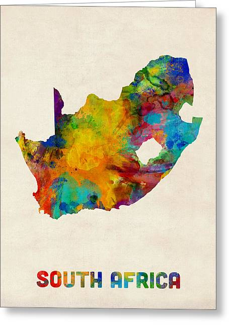 South Africa Watercolor Map Greeting Card by Michael Tompsett