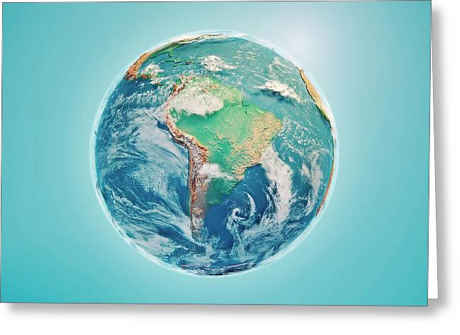 South America 3d Render Planet Earth Clouds Greeting Card