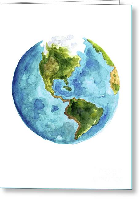 Planet Earth, South America Illustration, Watercolor World Map Painting Greeting Card by Joanna Szmerdt