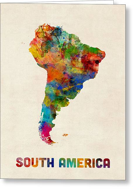 South America Watercolor Map Greeting Card by Michael Tompsett