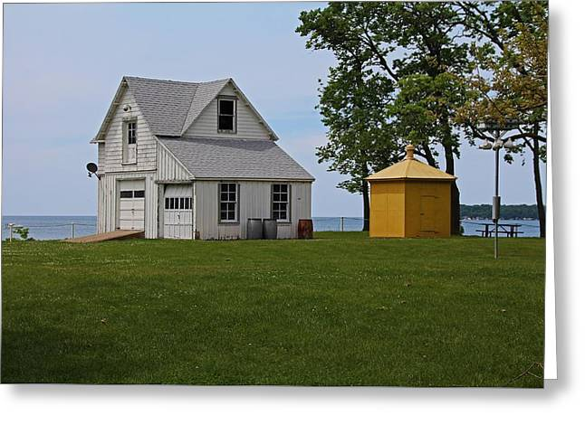 South Bass Island Lighthouse Barn And Oil Storage Building I Greeting Card by Michiale Schneider