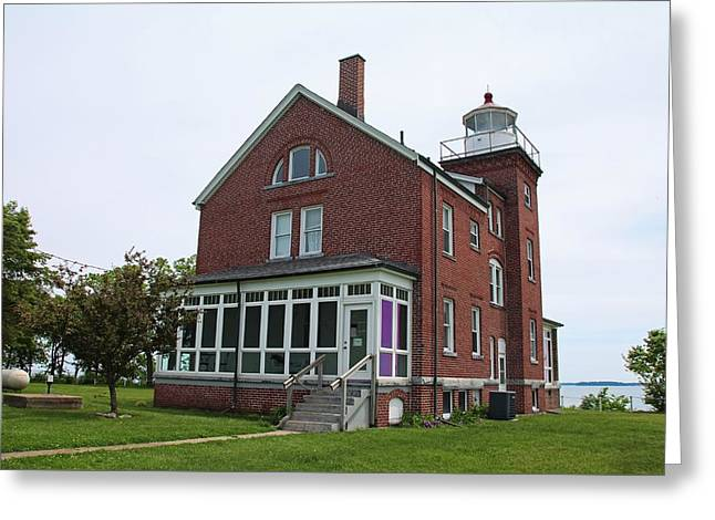 South Bass Island Lighthouse- Horizontal Greeting Card by Michiale Schneider