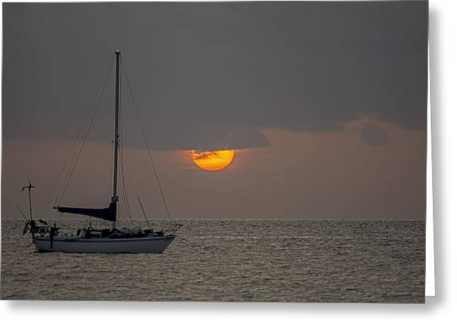Sailboat Ocean Greeting Cards - South Beach 4243 Greeting Card by Steve Lipson