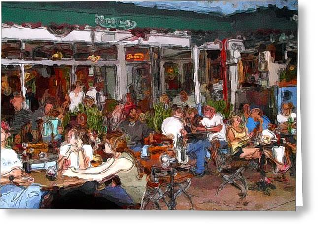 South Beach Cafe Greeting Card by Ralph Liebstein