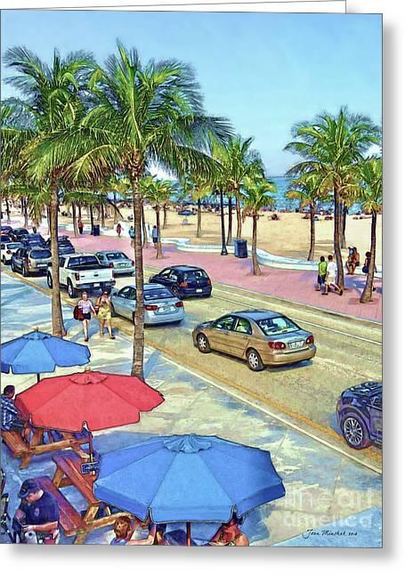 South Beach Florida Greeting Card by Joan Minchak