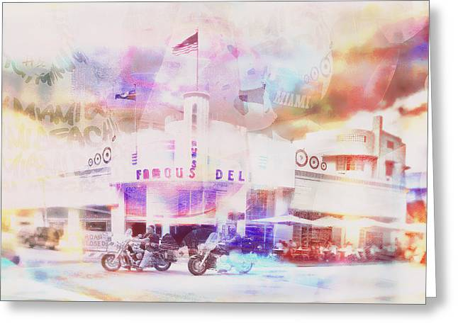 South Beach Miami Jerry's Deli Greeting Card by Susan Stone