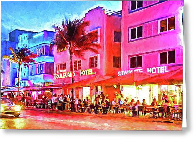 South Beach Neon Greeting Card by Dennis Cox WorldViews