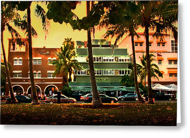 On The Beach Greeting Cards - South Beach Ocean Drive Greeting Card by Steven Sparks