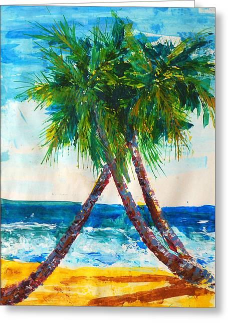 South Beach Palms Greeting Card